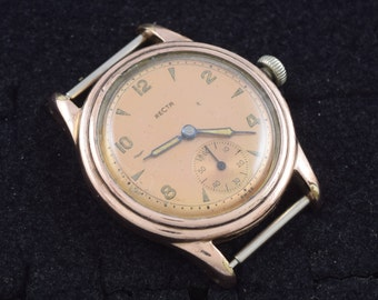 Recta Vintage Wrist Watch Rose Colored Rolled Gold Running Type F29 Waterproof 1940s ~ Lot 105