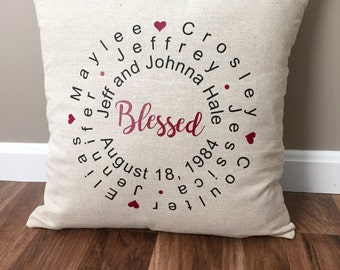 Family Decorative Pillow, Throw Pillows, Personalized Pillow