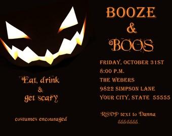 Booze & Boos Halloween Party Invitation