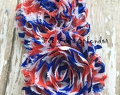 Set of 2 ** 4th of July** print Shabby Flowers Chiffon Rosette Flowers- Vintage style 2.5""