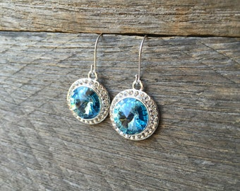Aquamarine Crystal Earrings Swarovski Rhinestone Dangle on Silver or Gold French Wire Hook