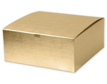 10 Large Square Gold Linen Foil Gift Boxes 8x8x3.5