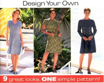 Simplicity Dress Pattern 7243 - Misses' A-Line Dress in Nine Variations - Simplicity Patterns Design Your Own - Sz 14/16/18