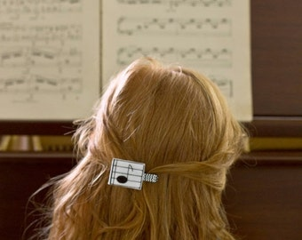Music Hair Clip, Felt Hair Clip, Music Note, Girls Hair Clip - Embroidered Felt Applique, Black and White, Musician, Stocking Stuffer, Gift