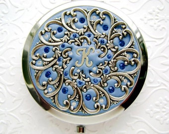 Personalized Bridesmaid Gift-Personalized Compact Mirror-Sapphire Wedding