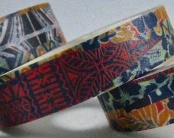 """CLEARANCE Exclusive Hawaiian Print Set of 3 Skinny Washi Tape Rolls """"MAUKA""""  10mm x 10meters x 3 rolls"""