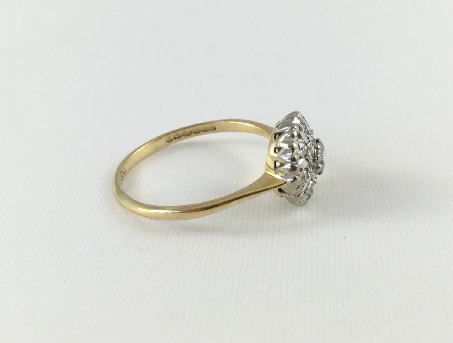 18k Vintage Two Tone Yellow And White Gold Diamond Cluster Engagement Ring