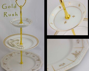 Jewelry Dish Tiered Server 3 Tier Cake Tidbit Stand Gold White Serving Tray Dessert Jewelry Display Three Tiered Serving Stand Gold China