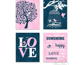 Baby Girl Nursery Art Wall Decor Girl Wall Art , You are My Sunshine, Love, Tree, Bird, Set of four Prints, Playroom Art,Navy and Pink