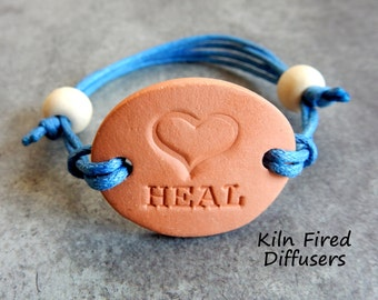 HEAL Hypoallergenic Adjustable Diffuser Bracelet Charm Aromatherapy Essential Oil Natural Pottery Bisque Clay Terracotta Yoga Scent Jewelry