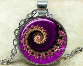 Purple fractal pendant, fractal art necklace, fractal jewelry, purple spiral necklace, purple spiral, Pendant #PA140P