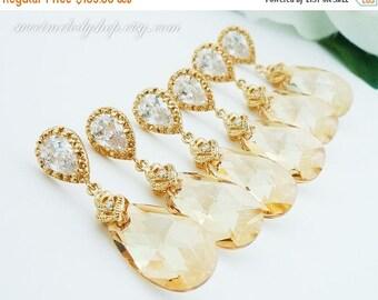 SALE 15% OFF SET of 6 Bridesmaid Gift Wedding Jewelry Bridal Jewelry Champagne Earrings Golden Shadow Swarovski Crystal Tear Drop Earrings