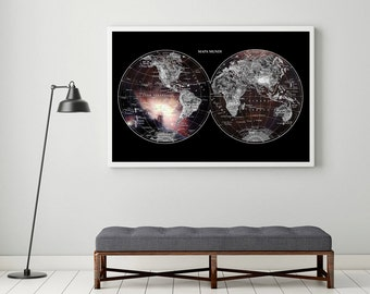 ON SALE World Map and Stars in the Sky ,  Giclee Fine Art Print,   Wall Art, Home Decor, Art Cosmos Galaxy