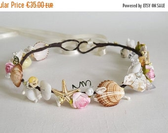 ON SALE Beach Bridal Tiara,Wedding SeaShell Headpiece,Freshwater Pearls,Starfish Crown,Wedding Hair accessories,  handmade by CyShell