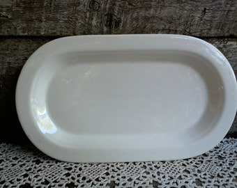 """IRONSTONE, PLAIN WHITE Oval Rectangle Serving Dish, 12"""", Zeilder Porcelian, Germany, Country Decor, Farmhouse Decor, Rustic, Buffet Tray"""