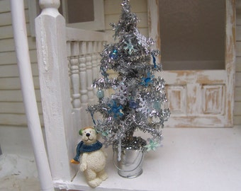 Dollhouse Miniature Silver Tree