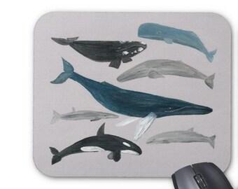 Whale Mousepad, ocean mousepad, sea mousepad, whale mouse pad, whale mouse mat, whales mousepad, nautical mousepad, nautical mouse pad