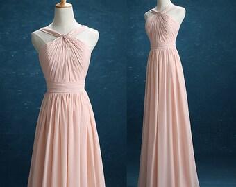 A-Line Princess Double Straps Halter-neck Floor-length Bridesmaid Dress With Ruffle,Blush Pink Chiffon Pleated Elegant Prom Dress