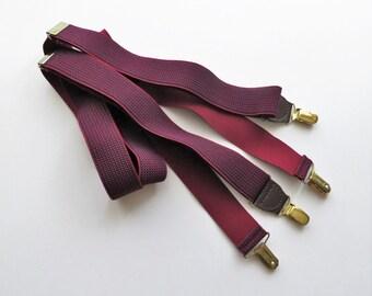 80s Maroon Elastic Suspenders Pelican Brand Gold Brass Clips Trouser Braces
