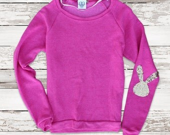 Girlfriend easter etsy easter shirt sequin bunny elbow patch sweatshirt sequin sweatshirt sweater jumper easter top women teens girlfriend negle Image collections