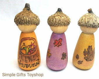 Autumn Themed Peg Dolls // Wooden Waldorf Season Dolls // Autumn Peg Dolls // Autumn Nature Table // Natural Toy // Harvest Doll Fall gift