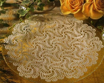 Ecru cotton table runner doily handmade crochet