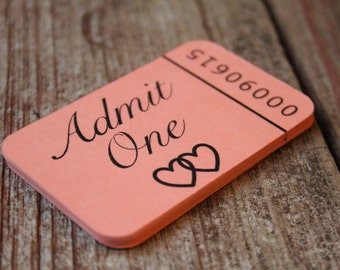 Admit One, Drink Tickets, Wedding Favor Tags, Wedding Favor, Wedding Favor Labels, Meal Ticket