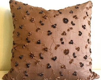 "Mocha-Colored Raw Silk Accent Pillow with Velvet Flowers Made From Vintage Fabric, 20"" x 20"""