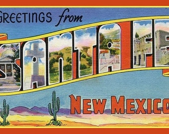 Fridge Magnet, Greetings from Santa Fe New Mexico, Big Letter postcard,  vintage image,