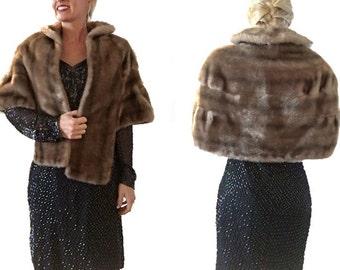 Brown Faux Fur Cape Coat/ Vintage/ Silky Cape/ Brown Cape/ Brown Coat/ Imitation Fur/ Fake Fur Cape