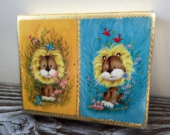Cute Lions Crown Playing Cards Plastic Coated Vintage Cards Lions and Birds
