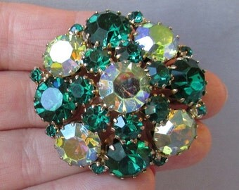 Vintage 1960's Shades of Green AB Rhinestone Domed Brooch, Unsigned Weiss