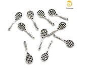 10 Silver Plated Tennis Charms for Jewelry or Scrapbooking