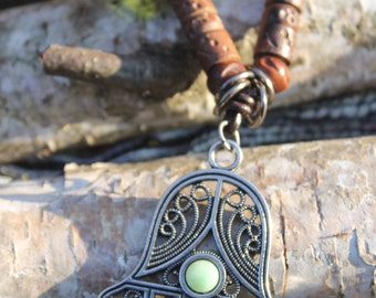 """Hamsa """"Green Forest"""" Necklace With Glass and Wood Beads"""