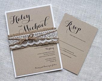 Rustic wedding invitation, Burlap Lace Wedding Invitation, Kraft, Lace Wedding invitation, Country Wedding, Handmade Wedding Stationary