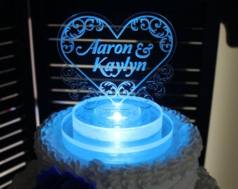 Wedding Cake Topper /Lighted/Heart/Personalized/Custom Cake Topper/LED Light/U Choose Color