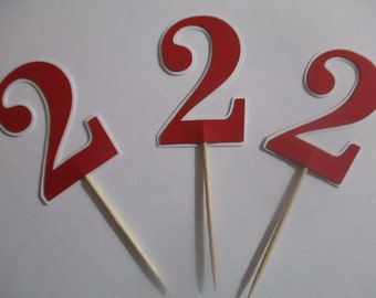 1st, 2nd, 5th, 40th, 50th, 60th, 70th Birthday Cupcake Toppers, Any Age or Number, for Birthday Party, Red White