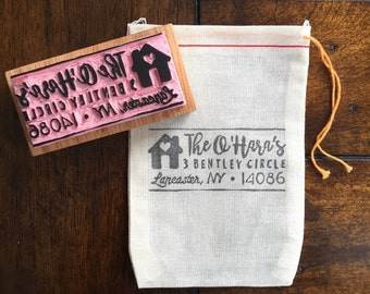 Custom Address Hand-Carved Rubber Stamp, Housewarming Party, New House, Return Address
