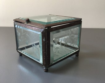vintage brass and glass hinged box beveled curio