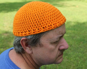 Safety Orange Cotton Crochet Hat, Hunting Hat Short Stack Hat, Kufi Hat, Skull Cap, Chemo Cap, Lightweight Bald Head Beanie Cap, Takke Hat