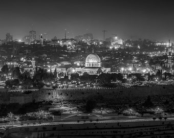 Dome Of The Rock , Jeruslem Israel, The  Old City, Night Photography, Classic Jerusalem at Night