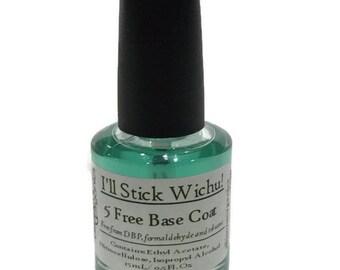 Vegan Base Coat 5-Free - I'll Stick Wichu Base Coat for perfect manis - Super Sticky Base - Vegan and 5 free