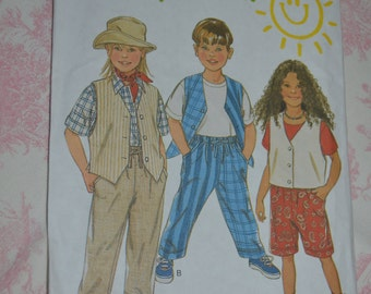 New look 6370  Kids Vest Pants and Shorts Sewing Pattern - UNCUT- Sizes 2-7