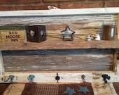 Salvaged Window With Vintage Wood Used To Create Rustic Shelf