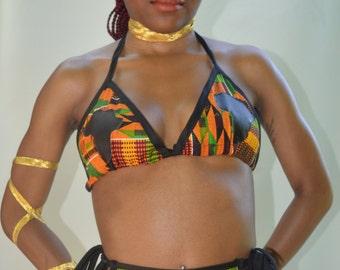 African Map On Boobs Kente Bikini Top