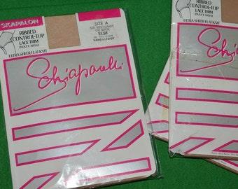 Schiaparelli Skapalon Vintage Nylon  Spandex Pantyhose Ribbed Control-Top Lace Trim Panty Hose