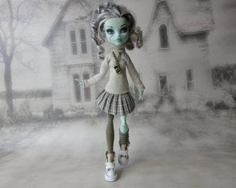 Beige and khaki green sweater with a camera  necklace , pleated skirt and  legwarmers hand made fits Monster High