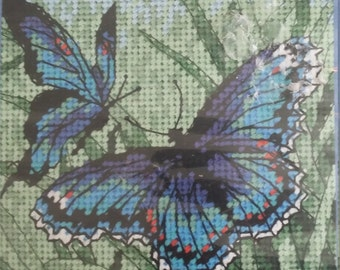 Butterfly Duo Opened but Never Used Needlepoint Dimensions Kit Number 7183 Blues and Greens and Black
