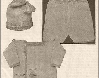 Baby Boy KNICKER SUIT Knitting Pattern - Charming Little Boy Knicker Suit - Jacket Pants Hat - Optional Bunny Fair Isle Design / Adorable