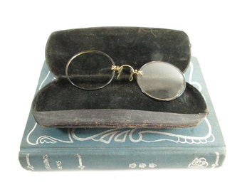 Antique Pince Nez Vintage Eyeglasses Round Edwardian Spectacles